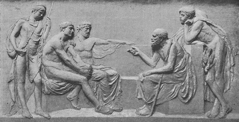 Sokratas moko žmones agoroje