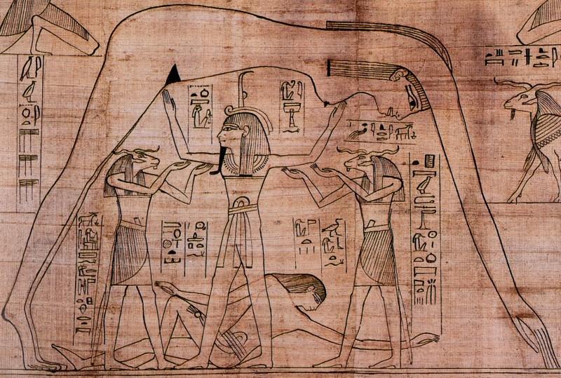 Senovės Egipto papirusas Nestanebetisheru (fragmentas): vėjo dvasių padedamas dievas Šu atskiria Dangų (Nut) ir Žemę (Gebą).
