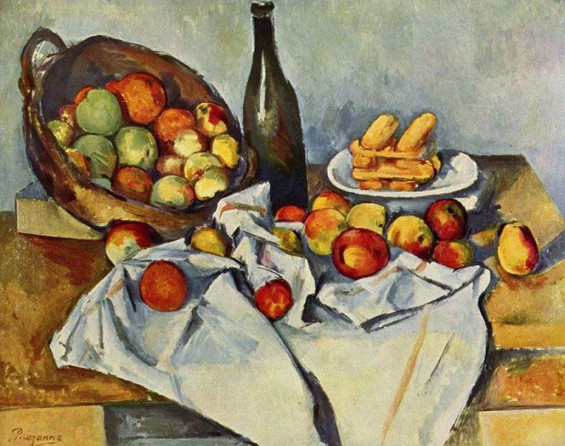 Paul Cézanne. Natiurmortas su obuolių pintine (1890–1895)